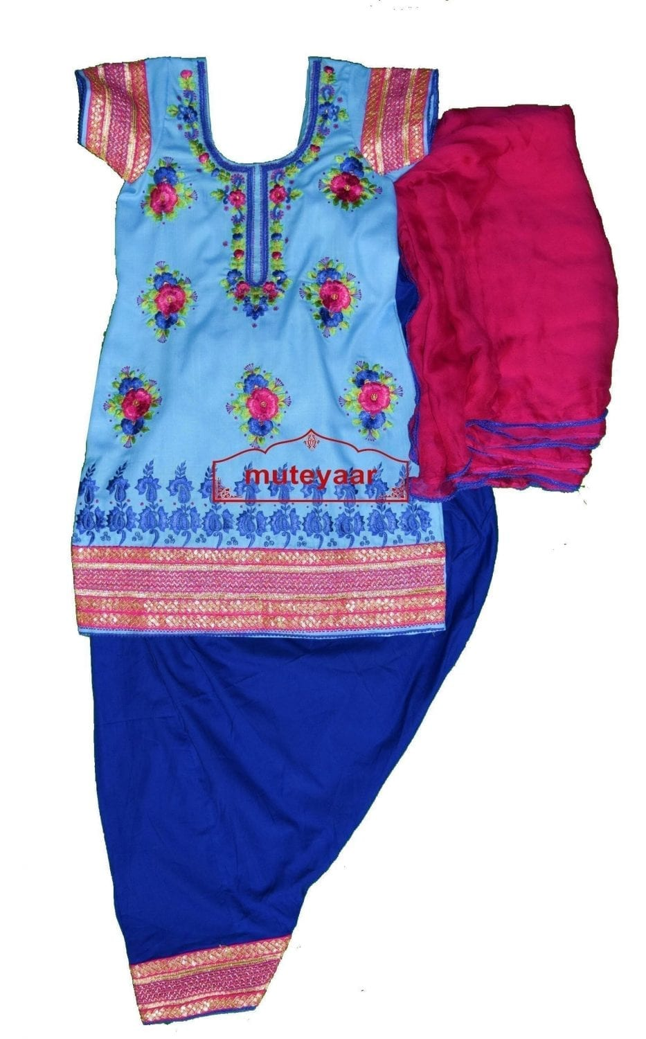 SONAKSHI Embroidered Full Patiala Salwar Suit with Chiffon Dupatta RS004 2