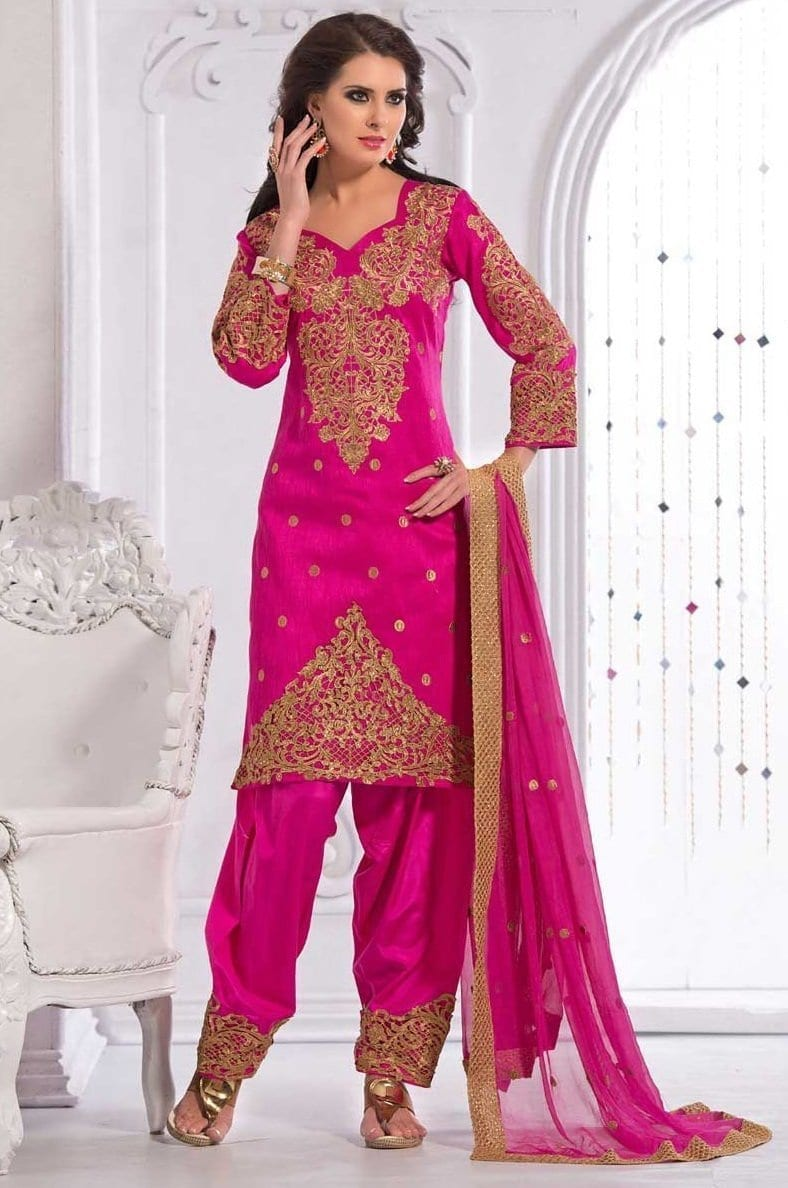 Party Wear Patiala Salwar Suit Replica Design with Chiffon Dupatta Custom Made RS022 1