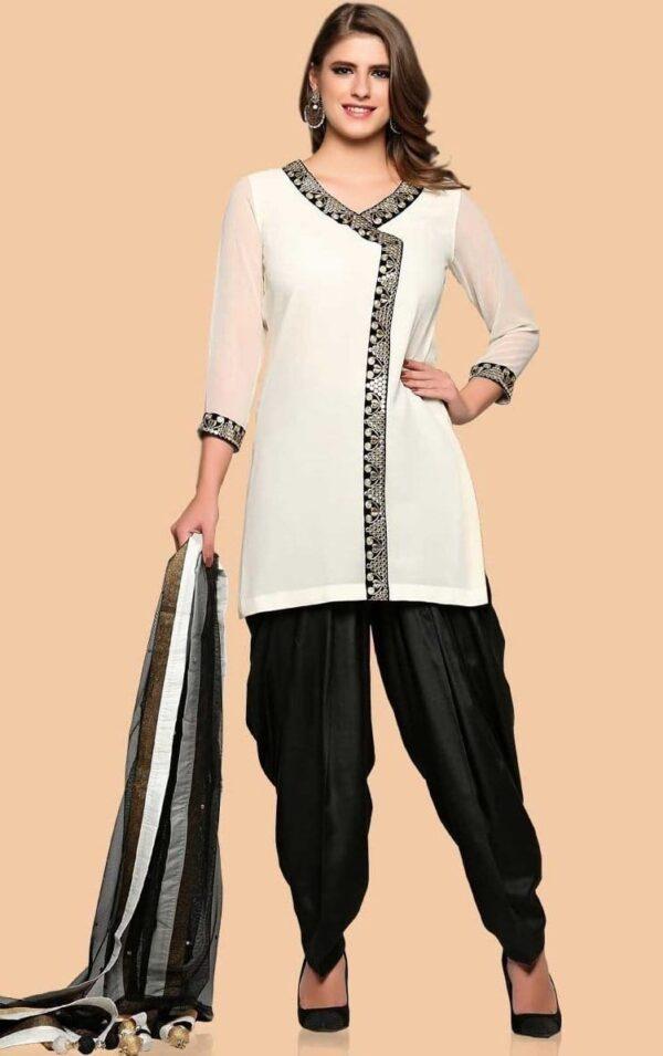 Angrakha Patiala Salwar Suit Replica Design with Chiffon Dupatta Custom Made RS023
