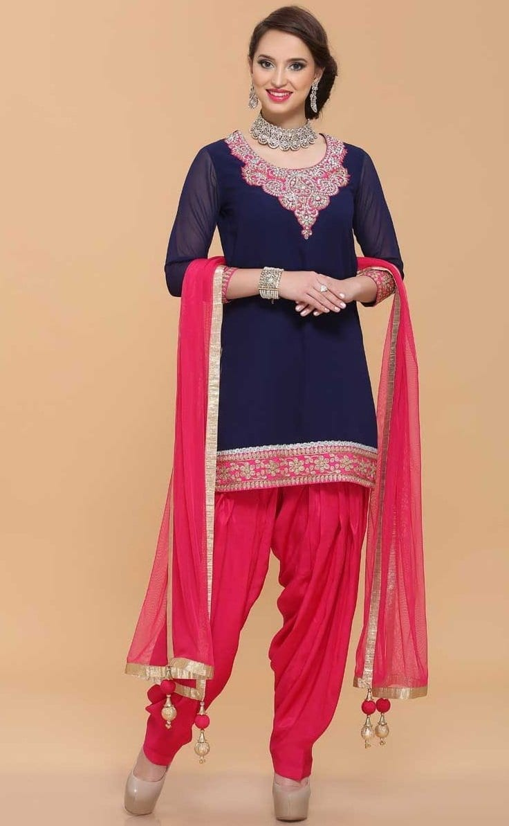 Embroidered Patiala Salwar Suit Replica Design with Chiffon Dupatta Custom Made RS025 1