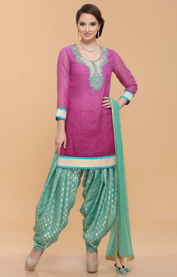 Patiala Suit Custom Embroidered Replica Design with Chiffon Dupatta RS027 1