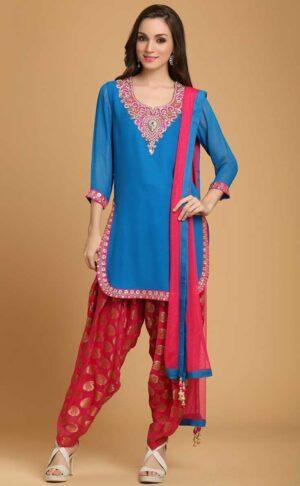 Punjabi Patiala Suit Custom Embroidery Replica Design with Chiffon Dupatta RS028