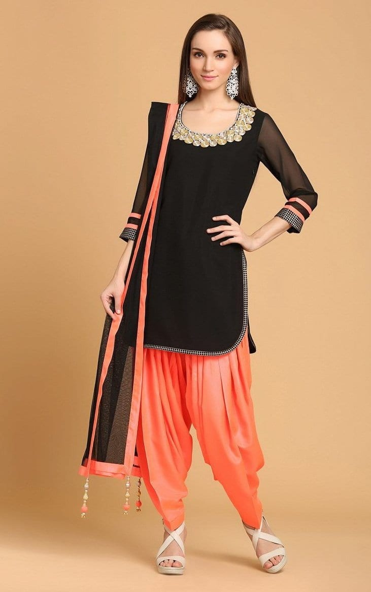 Patiala Salwar Kameez Replica Design with Chiffon Dupatta Custom Made RS029 1