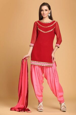 Patiala Salwar Suit Replica Gota Design with Chiffon Dupatta Custom Made RS030
