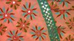 Peach Kantha Work Saree Hand Embroidered Party Wear Sari S0031