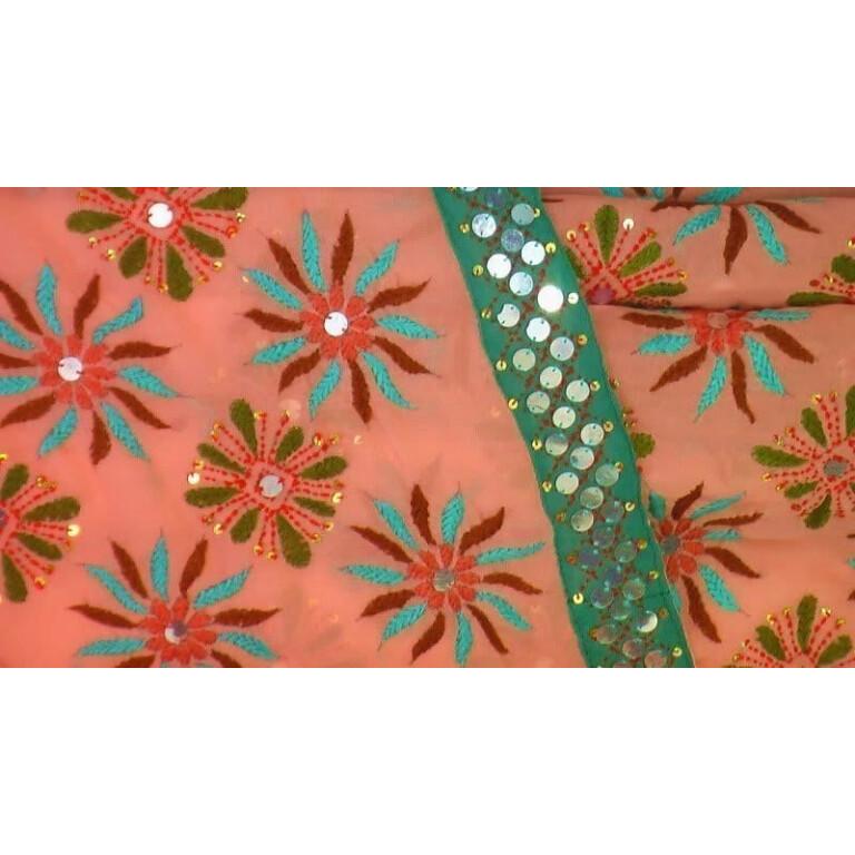 Peach colour Kantha Work Hand Embroidered Party Wear Sari / Saree S0031