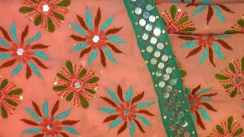 Peach colour Kantha Work Hand Embroidered Party Wear Sari / Saree S0031 2
