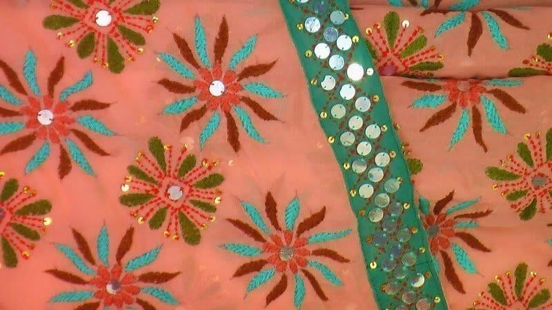 Peach Kantha Work Saree Hand Embroidered Party Wear Sari S0031 2