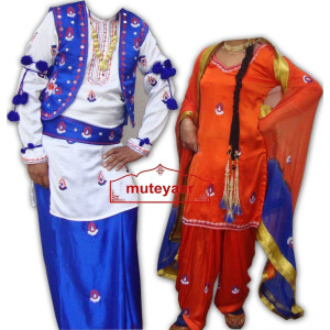 embroidered Bhangra dance Costume – BOYS + GIRLS SET