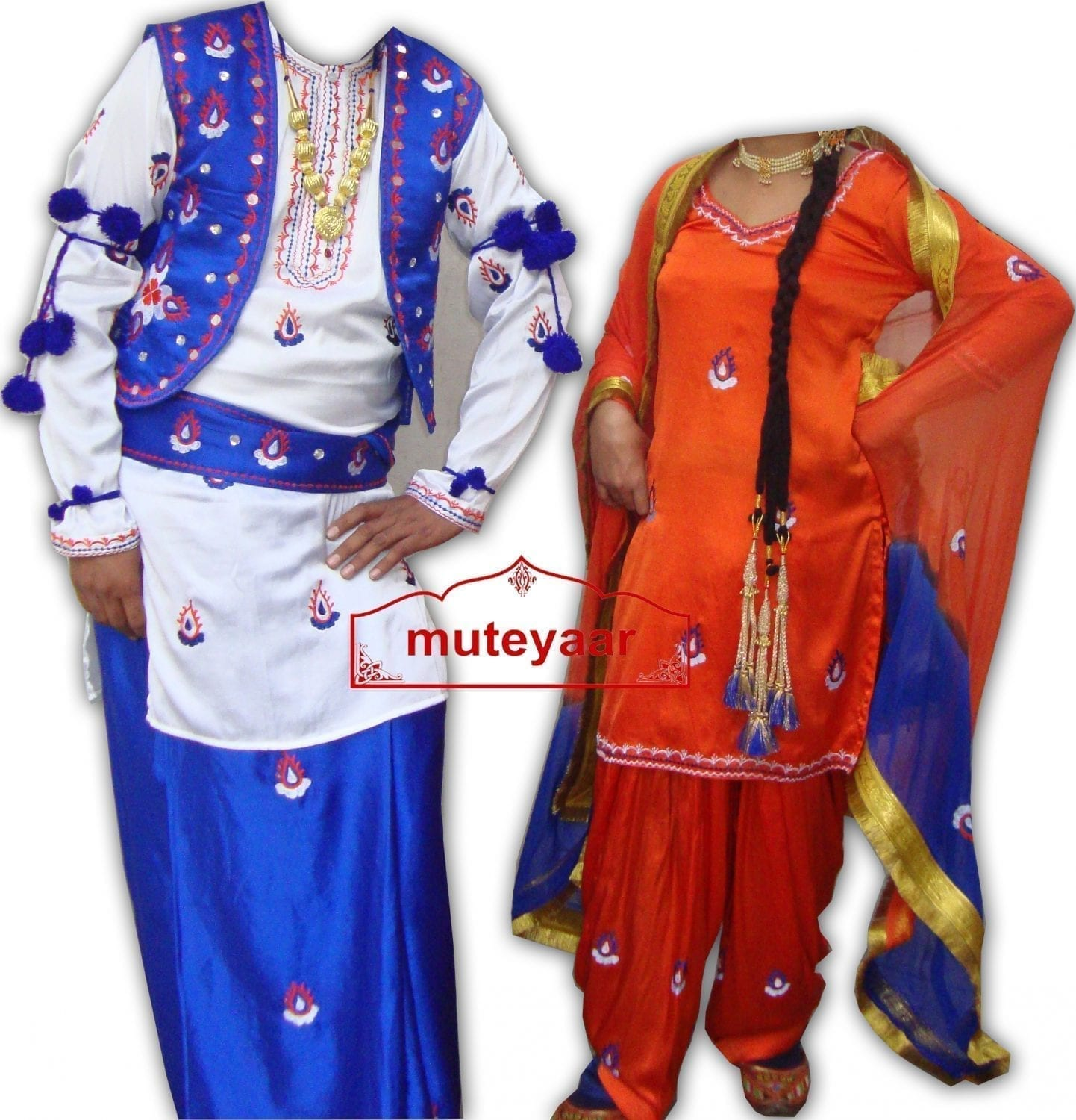 embroidered Bhangra dance Costume - BOYS + GIRLS SET 1