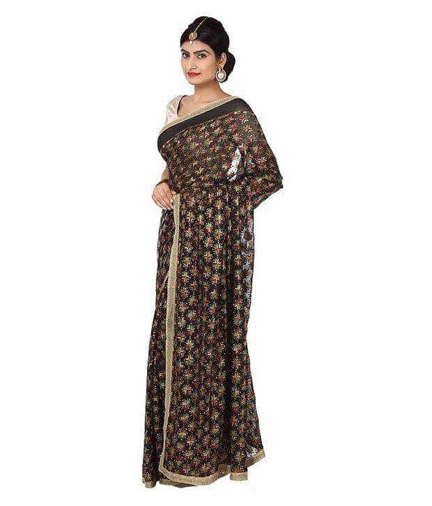 Black Multi Phulkari Saree Allover Embroidered party wear Faux Chiffon Sari S14 2