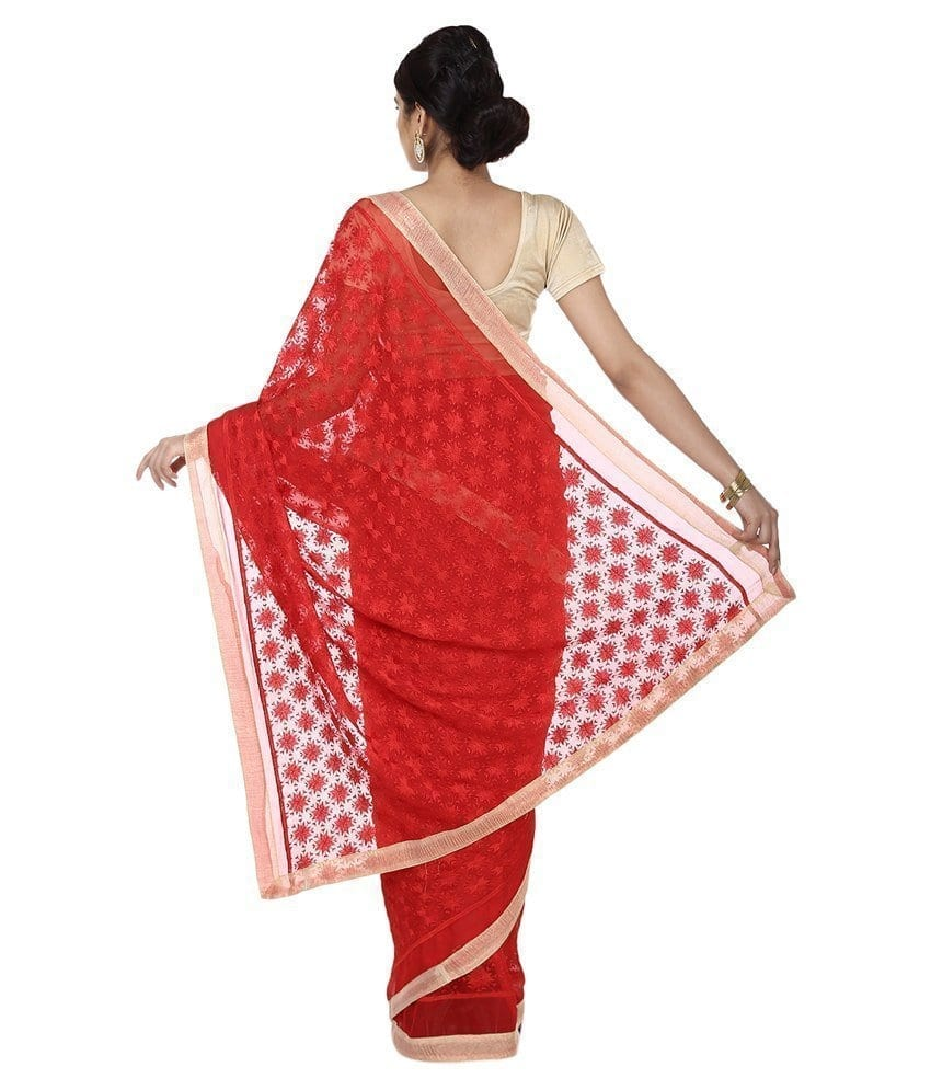 Red Phulkari Saree Self Embroidered party wear Faux Chiffon Sari S17 2