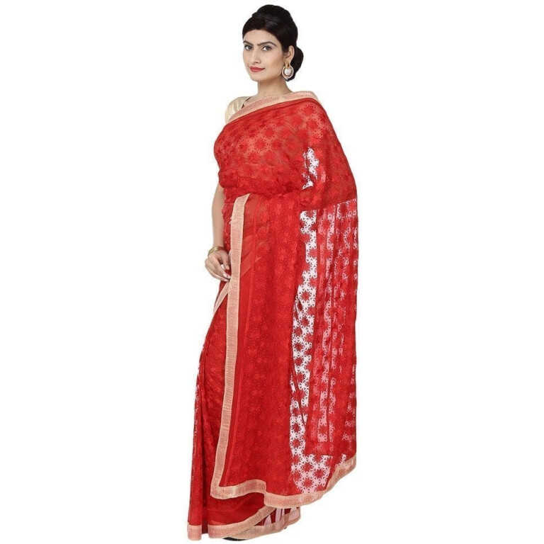 Red Phulkari Saree Self Embroidered party wear Faux Chiffon Sari S17