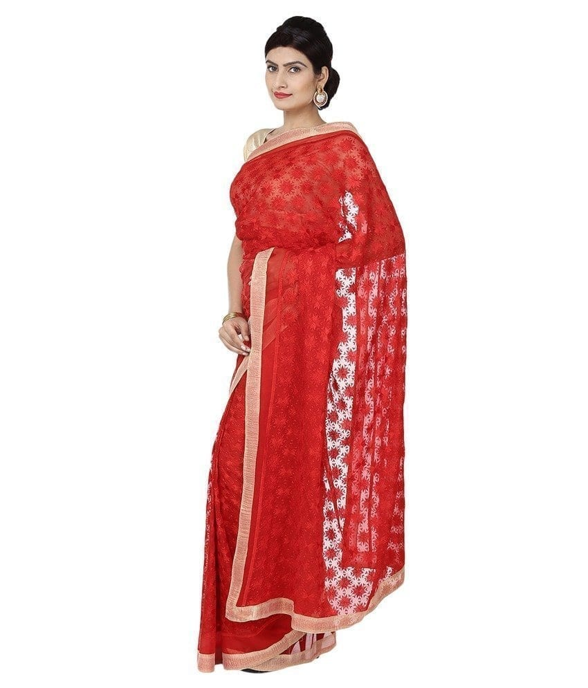 Red Phulkari Saree Self Embroidered party wear Faux Chiffon Sari S17 3