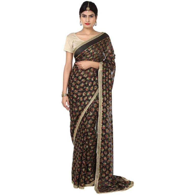 Allover Embroidered Black Multi Phulkari Saree S14