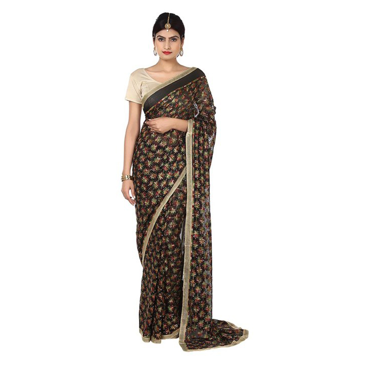 Allover Embroidered Black Multi Phulkari Saree S14 1