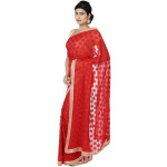 Red Phulkari Saree Faux Chiffon Sari S17
