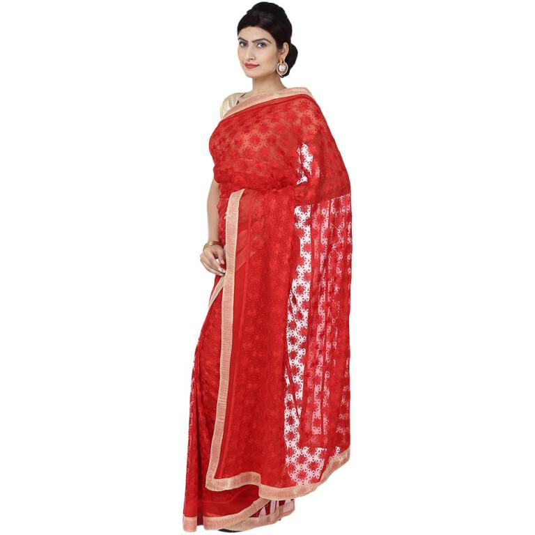 red phulkari saree s17