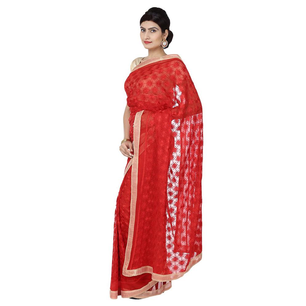 Red Phulkari Saree Faux Chiffon Sari S17 1