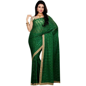 Dark Green Phulkari Saree S18