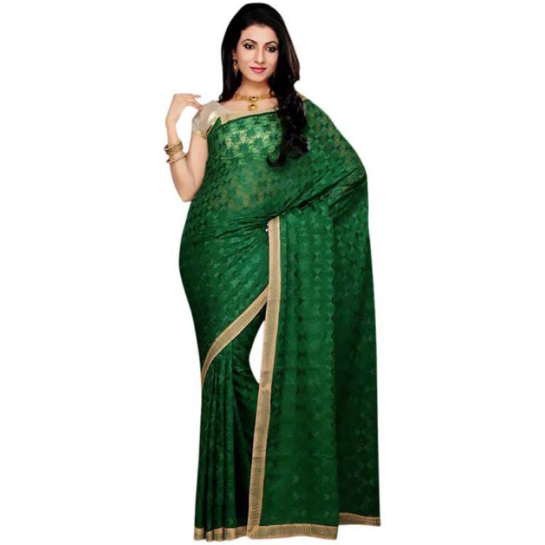 Dark Green Phulkari Saree s18