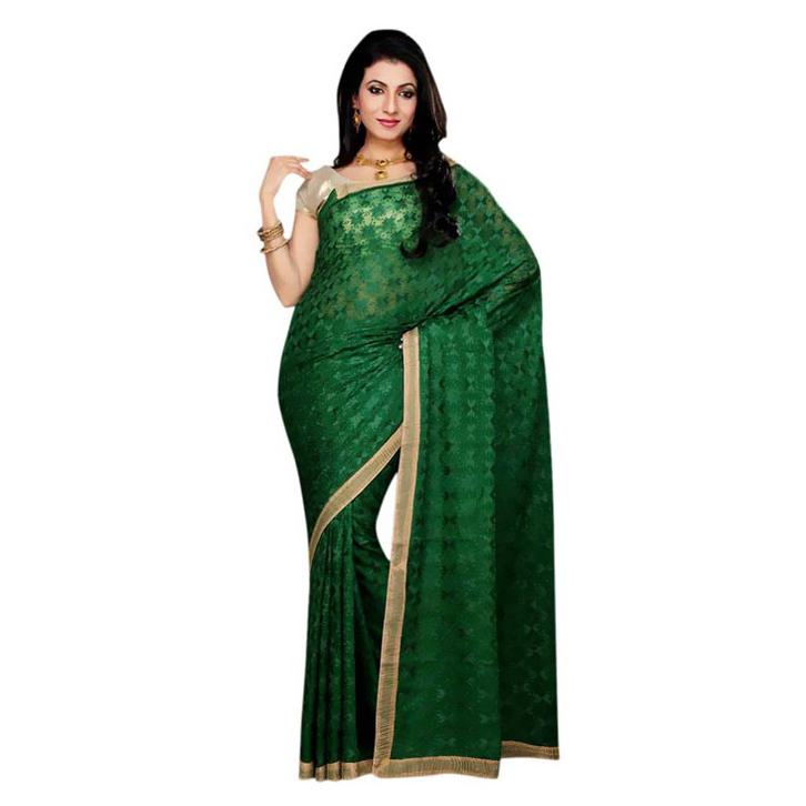 Dark Green Phulkari Saree S18 1