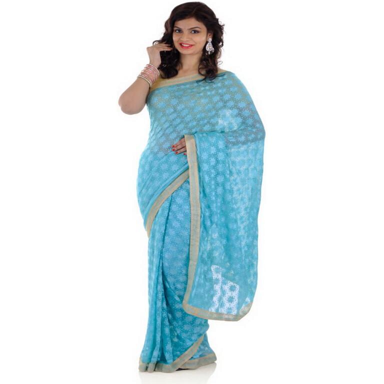 Light Blue Phulkari Saree S2