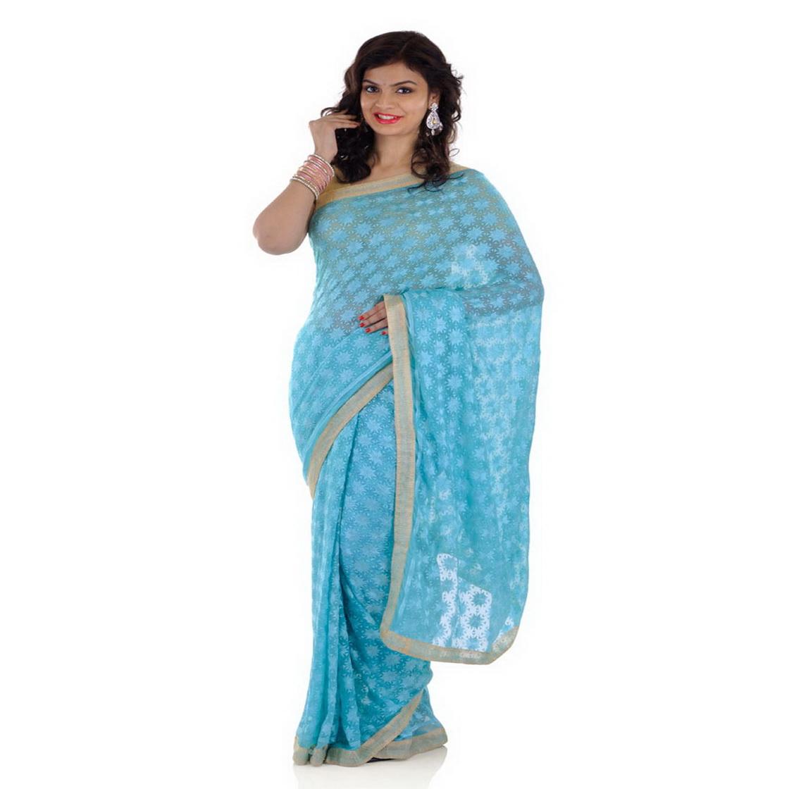 Light Blue Phulkari Saree S2 1