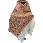 Pure Pashmina Cream Kashmiri Shawl Brown Embroidery C0651