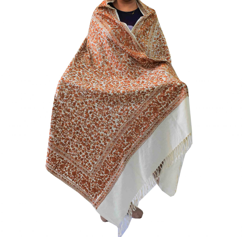 Pure Pashmina Cream Kashmiri Shawl Brown Embroidery C0651 1