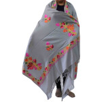 Light Grey Kashmiri Shawl Chinar Embroidery pure wool Pashmina wrap C0656