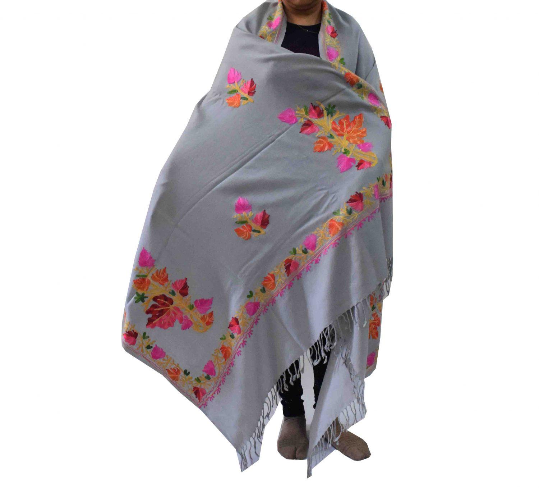 Light Grey Kashmiri Shawl Chinar Embroidery pure wool Pashmina wrap C0656 1