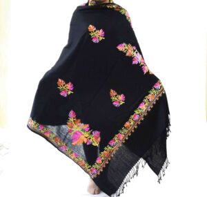 Black Kashmiri Shawl Chinar Embroidery pure wool Pashmina wrap C0657