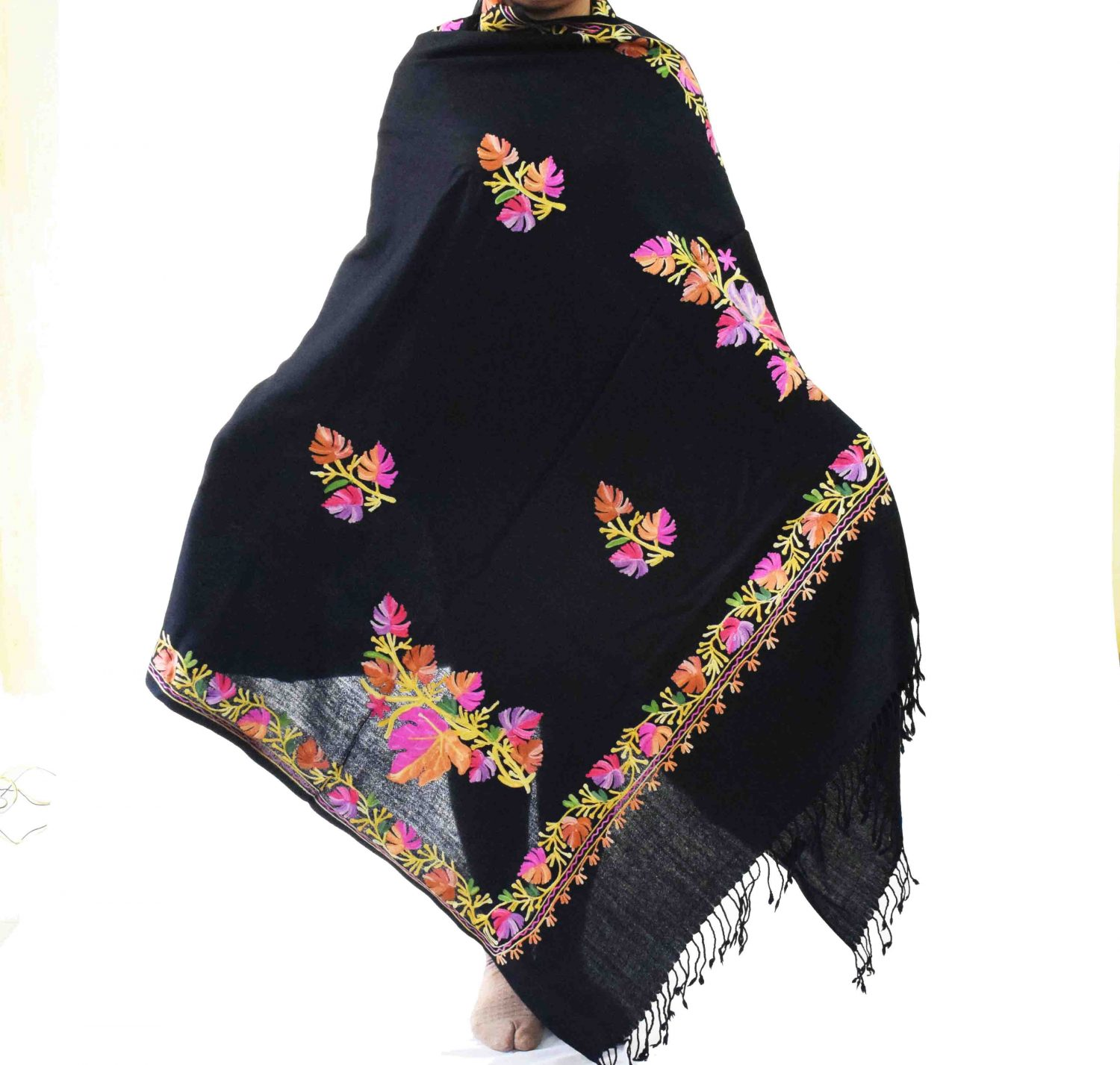 Black Kashmiri Shawl Chinar Embroidery pure wool Pashmina wrap C0657 1