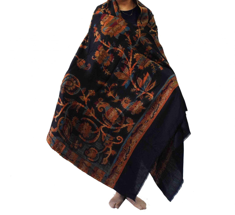 Black Kashmiri Shawl Kani Cutting Work pure wool Pashmina wrap C0659 1