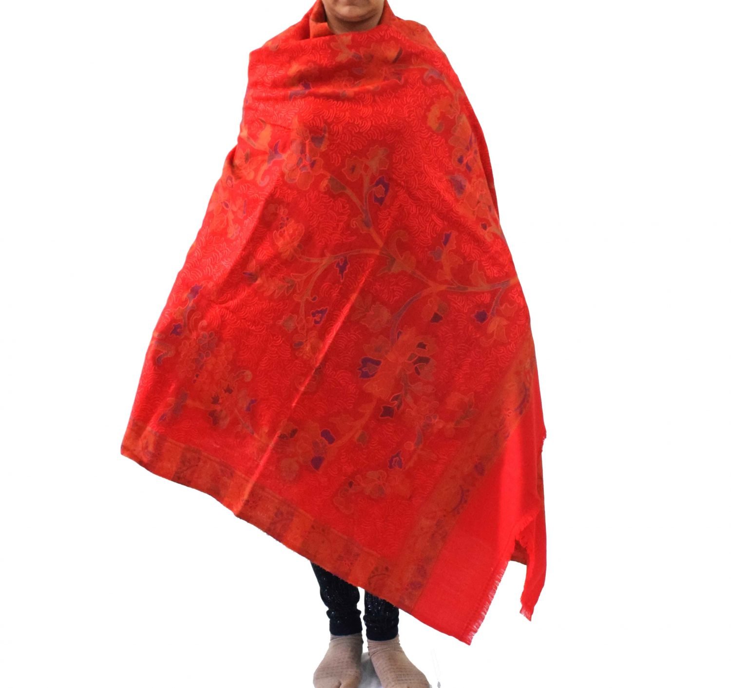 Red Kashmiri Shawl Kani Embroidery Work pure wool Pashmina wrap C0661 1