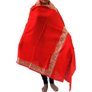 Bridal Red Kashmiri Shawl Zari Border Embroidery Work pure wool Pashmina wrap C0663