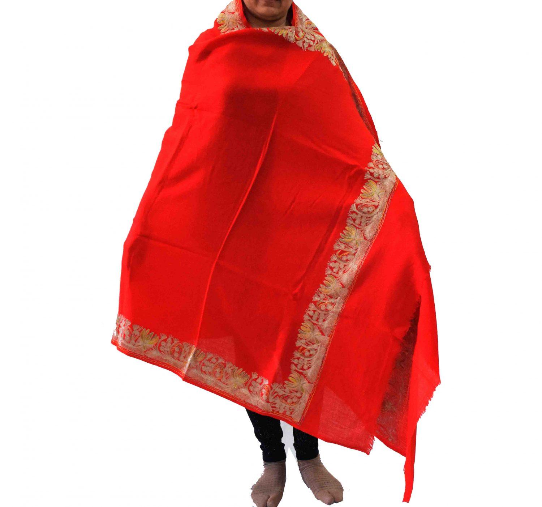 Bridal Red Kashmiri Shawl Zari Border Embroidery Work pure wool Pashmina wrap C0663 1