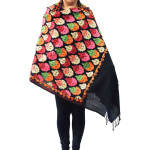 Black Kashmiri Stole Heavy Embroidery Work Pashmina C0670