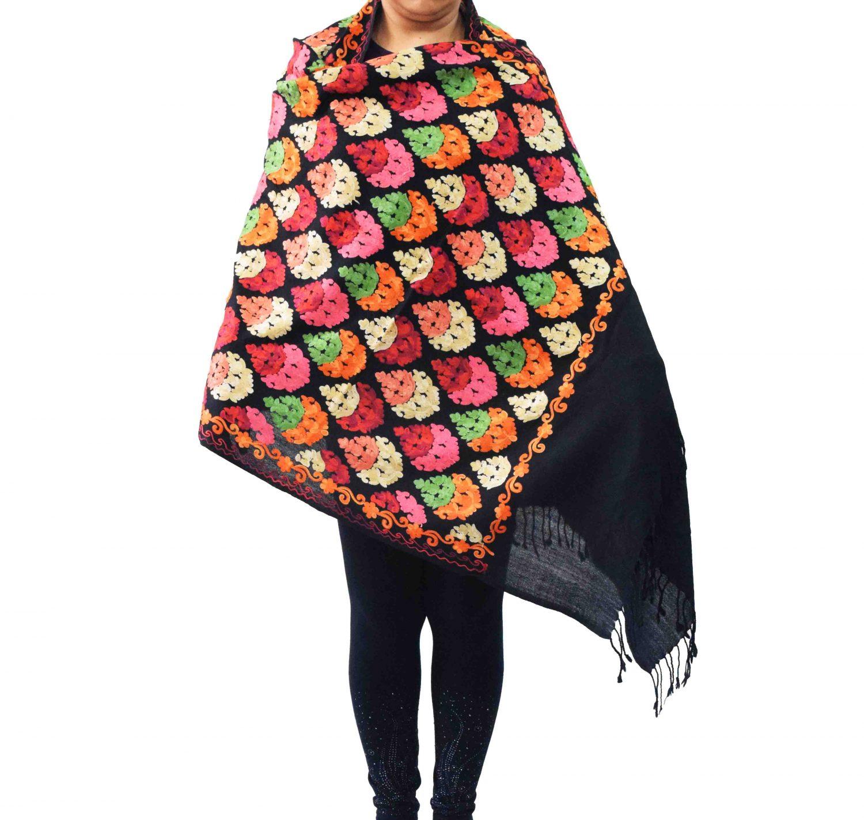 Black Kashmiri Stole Heavy Embroidery Work Pashmina C0670 1