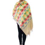 Brown Kashmiri Stole Heavy Embroidery Work pure wool Pashmina wrap C0671