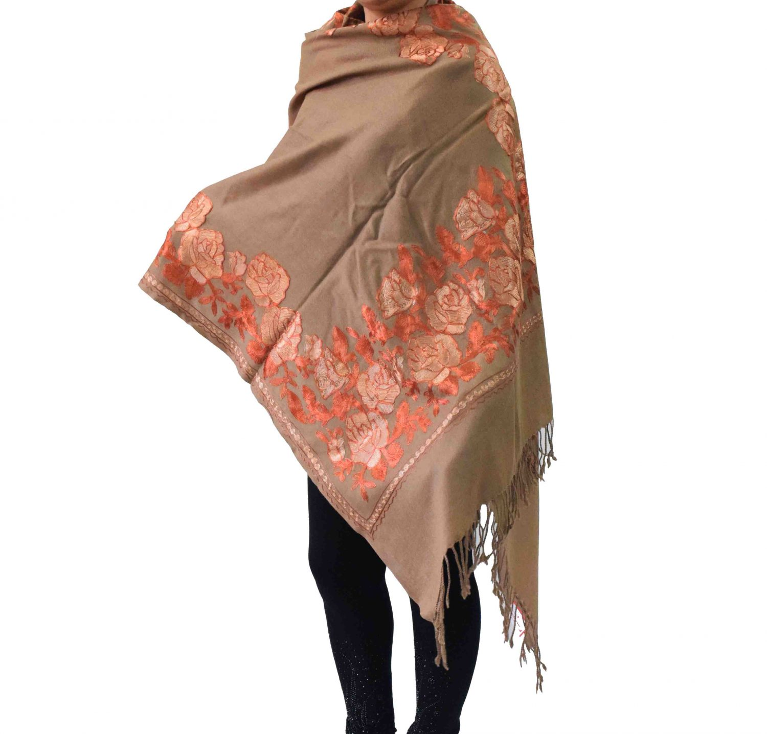 Brown Kashmiri Stole Border Work Embroidery Pure Pashmina C0674 1