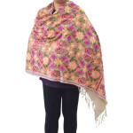 Fawn Kashmiri Stole Multicolour Heavy Embroidery Work pure wool Pashmina C0687