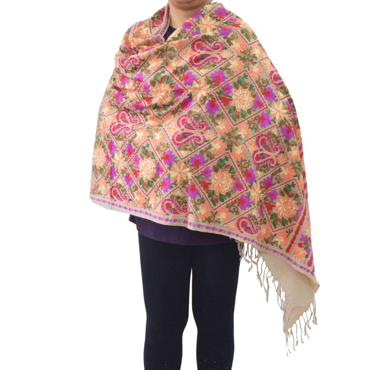 Fawn Kashmiri Stole Multicolour Heavy Embroidery Work pure wool Pashmina C0687 1
