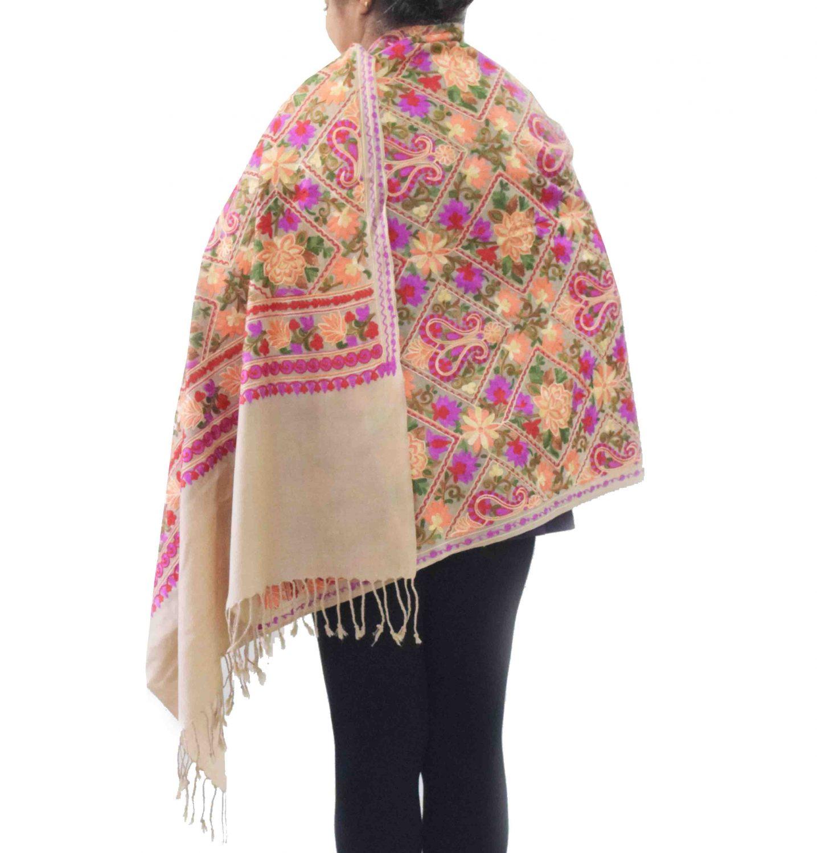 Fawn Kashmiri Stole Multicolour Heavy Embroidery Work pure wool Pashmina C0687 2
