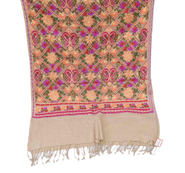 Fawn Kashmiri Stole Multicolour Heavy Embroidery Work pure wool Pashmina C0687 3