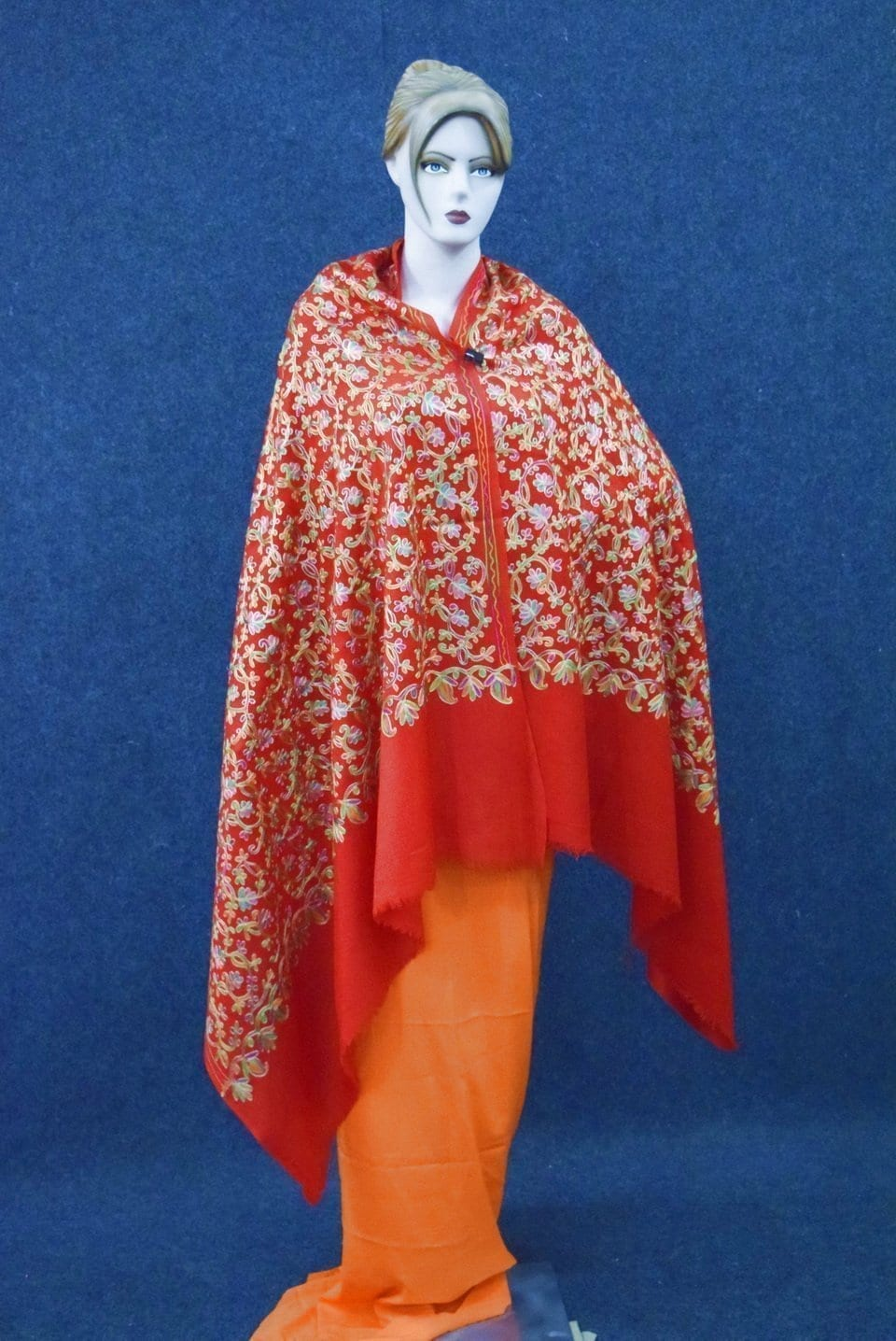 Red Bridal Kashmiri Shawl pure wool Pashmina all over embroidery C0641 1