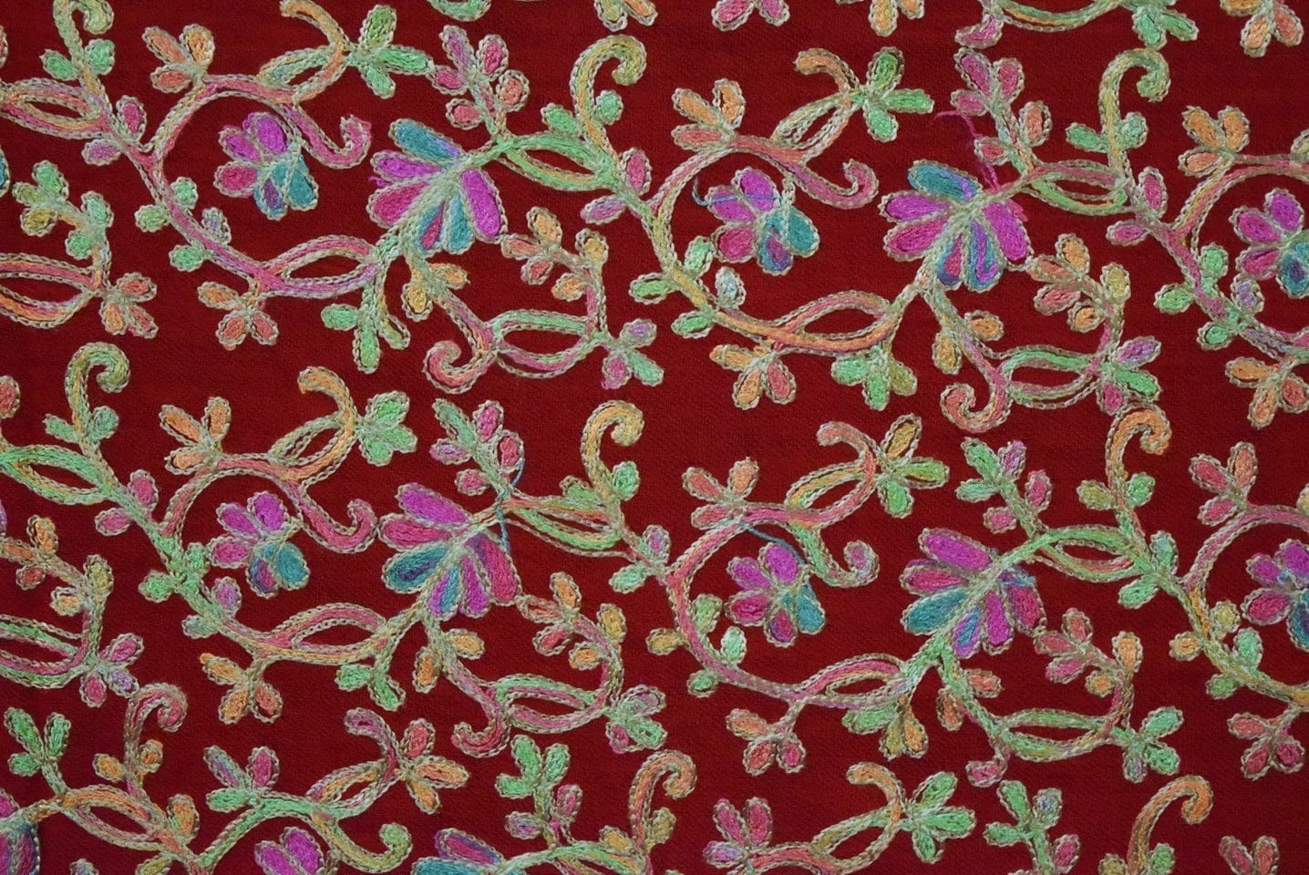 Red Bridal Kashmiri Shawl pure wool Pashmina all over embroidery C0641 3