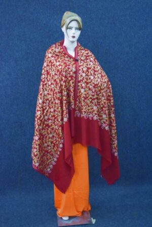 Maroon Bridal Kashmiri Shawl pure wool Pashmina all over embroidery C0642