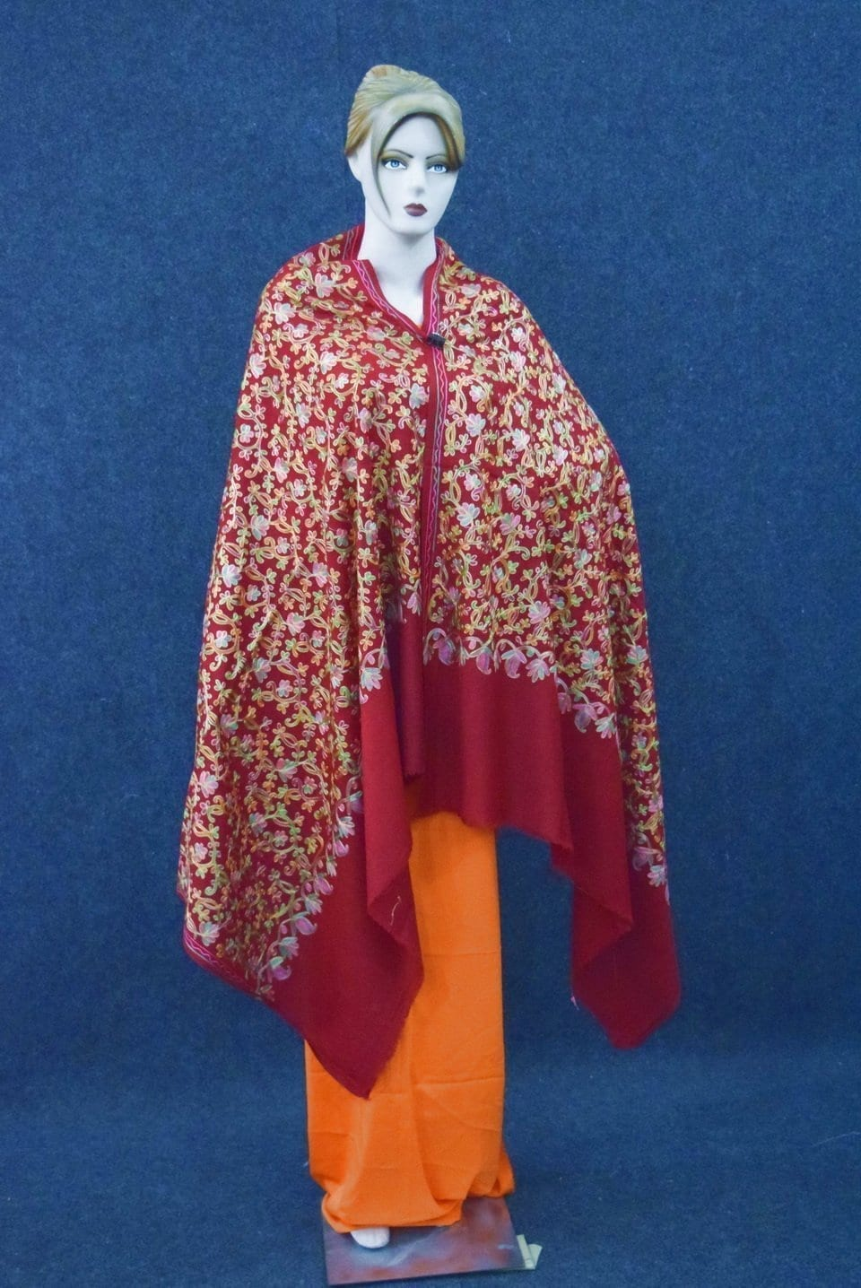 Maroon Bridal Kashmiri Shawl pure wool Pashmina all over embroidery C0642 1
